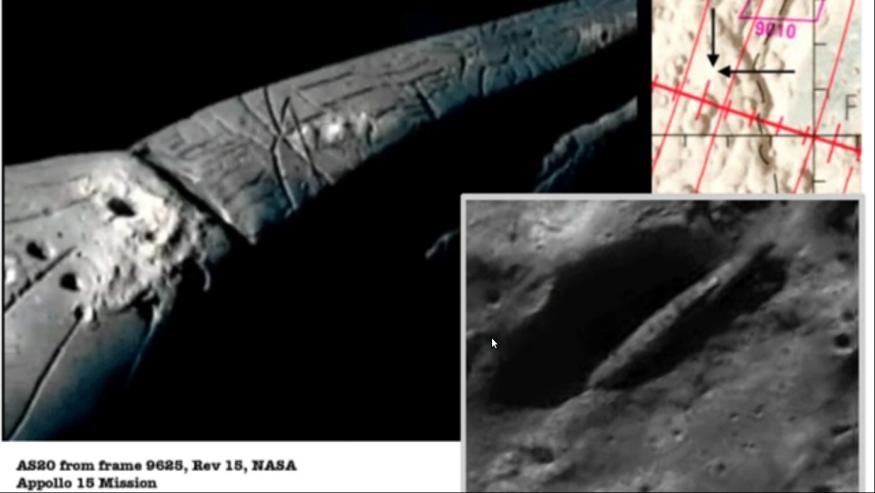 Alien Mutterschiff auf dem Mond